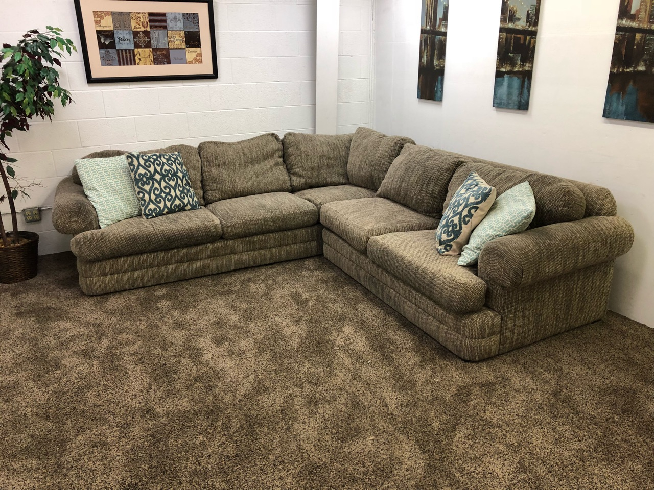 2 Piece Large Grey Tweed Castellano Sectional Sofa Set With Regard To Oversized Sectional Sofas (View 5 of 15)