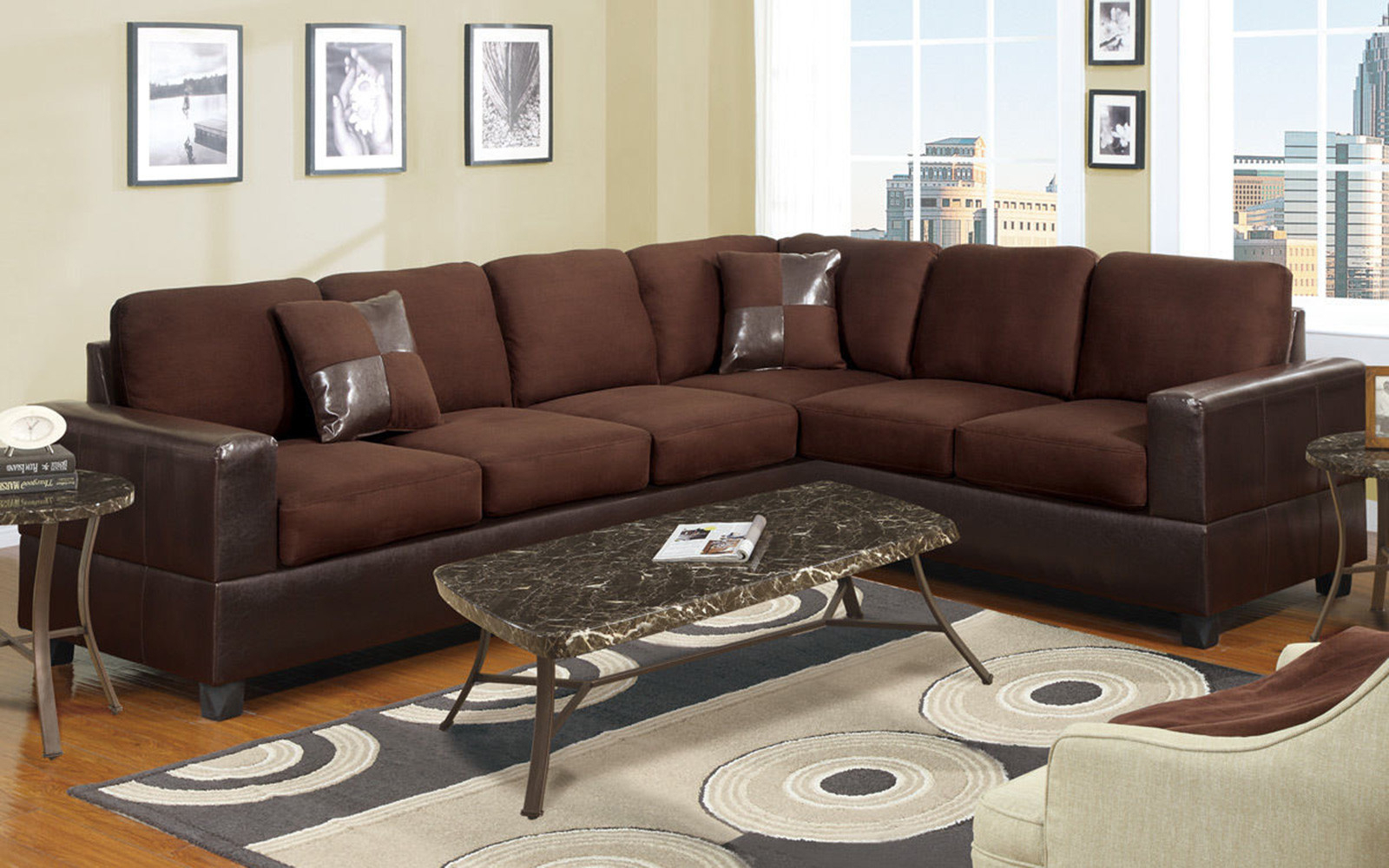 2 Piece Modern Large Microfiber And Faux Leather Sectional With Regard To Oversized Sectional Sofas (View 2 of 15)