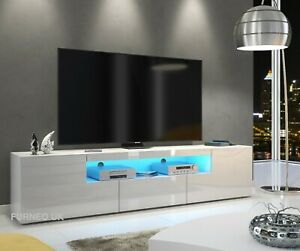 200Cm Modern White High Gloss &Matt Tv Unit Stand Cabinet Throughout Well Known Modern White Gloss Tv Stands (View 9 of 15)