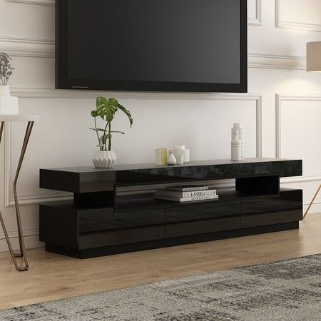 200Cm Tv Cabinet Bench 3 Drawer Television Unit Stand For Widely Used Black Tv Cabinets With Drawers (View 3 of 15)