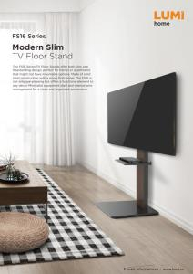 2017 Modern Black Floor Glass Tv Stands With Mount Within Fs16 46Td,Modern Slim Tv Floor Stand With Equipment Shelf (View 8 of 15)
