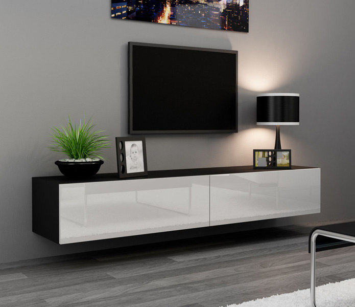 2017 Modern Black Tv Stands On Wheels Regarding Seattle 24 – Modern Tv Wall Unit / Tall Tv Stands For Flat (View 7 of 15)