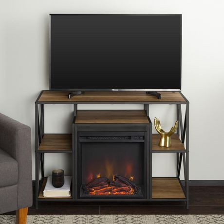 2017 Tv Stands With Led Lights In Multiple Finishes Intended For Manor Park Rustic Industrial Fireplace Tv Stand For Tv'S (View 7 of 15)