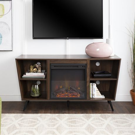 2017 Tv Stands With Led Lights In Multiple Finishes Within Manor Park Mid Century Modern Hairpin Fireplace Tv Stand (View 1 of 15)