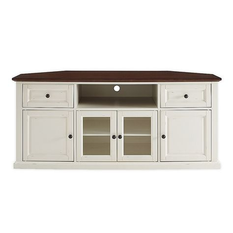 """2017 White Corner Tv Cabinets Intended For Crosley Shelby 60"""" Corner Tv Stand In White (View 4 of 15)"""