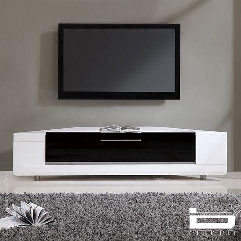 2017 White Corner Tv Cabinets Pertaining To Editor Remix Corner Tv Stand In Whiteb Modern (View 14 of 15)