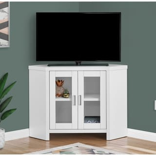 2018 Corner Tv Cabinets With Glass Doors Pertaining To Shop White 46 Inch Corner Tv Stand & Media Console (View 7 of 15)