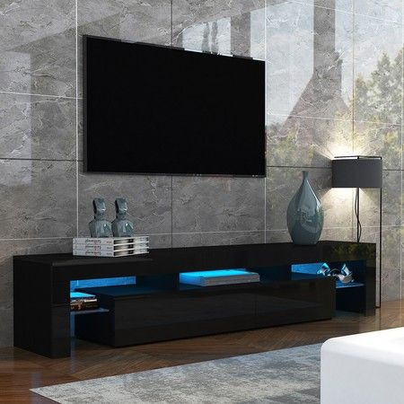 2018 Dillon Black Tv Unit Stands With 189Cm Tv Stand Cabinet 2 Drawers Wooden Entertainment Unit (View 14 of 15)