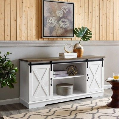"""2018 Jaxpety 58"""" Farmhouse Sliding Barn Door Tv Stands In Rustic Gray With Regard To 58"""" Modern Farmhouse Wood Tv Stand White/Rustic Oak (View 5 of 15)"""
