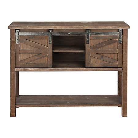 """2018 Modern Farmhouse Style 58"""" Tv Stands With Sliding Barn Door With Farmhouse Sliding Barn Door Brown Console Table (View 7 of 15)"""