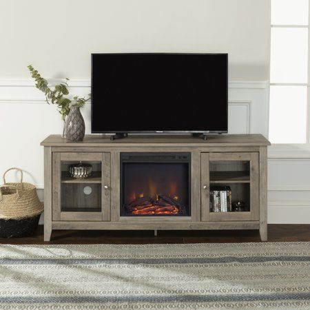 2018 Tv Cabinets With Glass Doors With Regard To Walker Edison Traditional Fireplace Tv Stand With Glass (View 7 of 15)