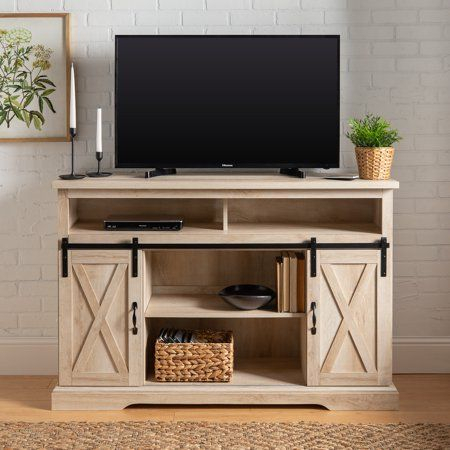 2018 Tv Stands With Sliding Barn Door Console In Rustic Oak Throughout Woven Paths Farmhouse Barn Door Tv Stand For Tvs Up To  (View 7 of 15)