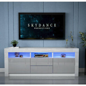 2018 Zimtown Tv Stands With High Gloss Led Lights In 160Cm Grey Tv Unit Cabinet Sideboard High Gloss Fronts (View 14 of 15)