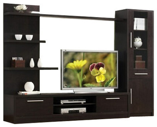 3 Piece Espresso Finish Wood Modern Styling Tv Within Fashionable Alden Design Wooden Tv Stands With Storage Cabinet Espresso (View 2 of 15)