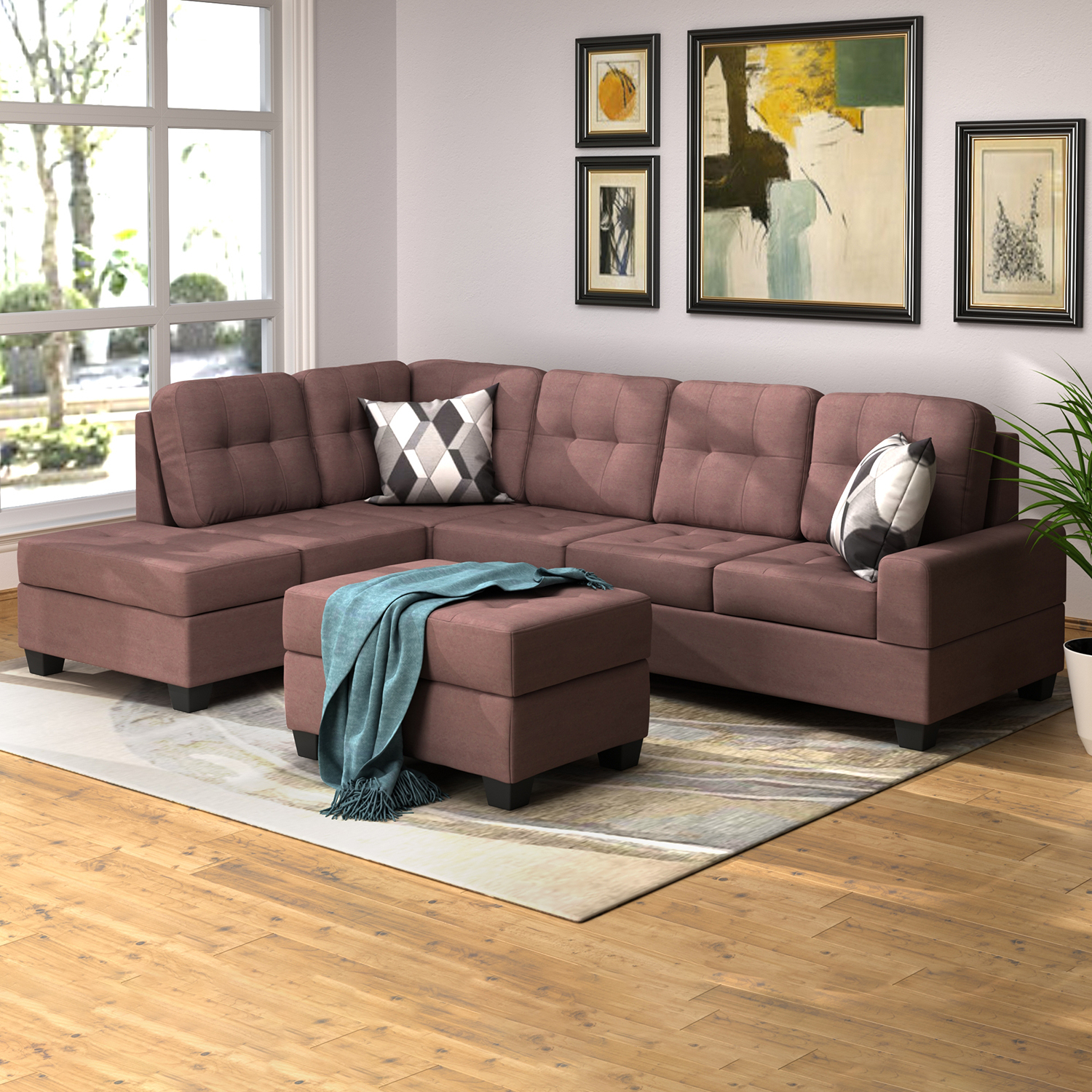 3 Piece Sectional Sofa Microfiber With Reversible Chaise With Regard To Copenhagen Reversible Small Space Sectional Sofas With Storage (View 4 of 15)