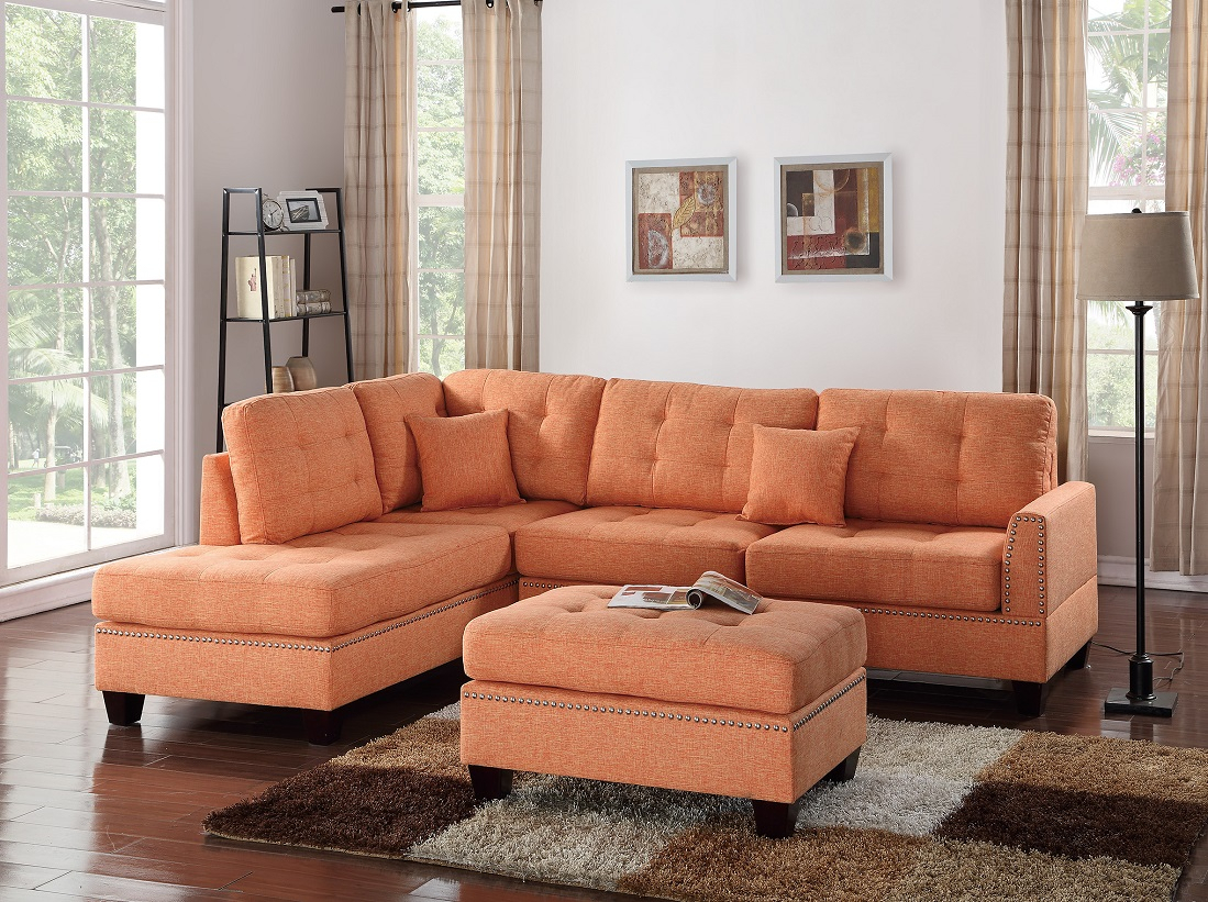3 Piece Sectional Sofa Reversible Chaise Ottoman Citrus With Regard To Palisades Reversible Small Space Sectional Sofas With Storage (View 6 of 15)
