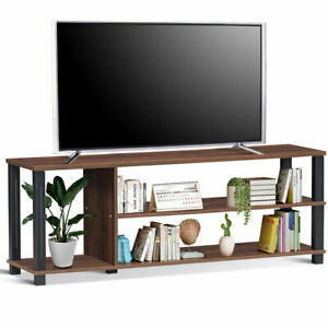 3 Tier Tv Stand Wood Media Unit Console Table Storage Inside Widely Used Tv Stands And Bookshelf (View 6 of 15)