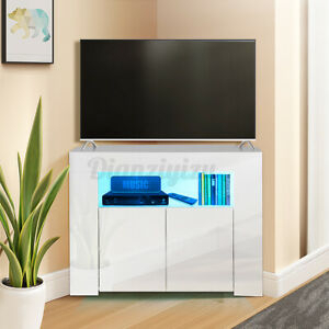 """34"""" Corner Tv Stand Cabinet High Gloss Led Light For Recent Zimtown Tv Stands With High Gloss Led Lights (View 15 of 15)"""