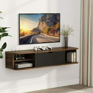 43 Inch Floating Wall Mounted Vintage Tv Shelf Tv Stand Pertaining To 2018 Single Shelf Tv Stands (View 6 of 15)