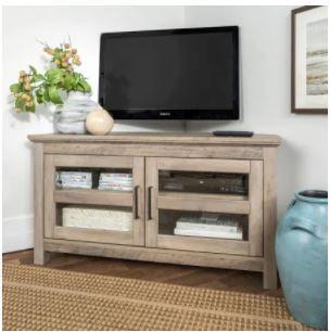 "44"" Corner Wood Tv Console In Grey Wash – Walker Edison Intended For Favorite Walker Edison Wood Tv Media Storage Stands In Black (View 1 of 15)"