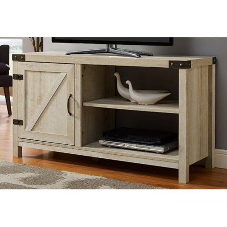 44 Inch Rustic Farmhouse Barn Door Tv Stand – Reclaimed Throughout Most Current Tv Stands With Sliding Barn Door Console In Rustic Oak (View 4 of 15)