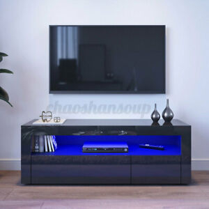47'' Tv Stand Cabinet Led Rgb Lighting 2 Drawer Media For Most Recently Released Manhattan 2 Drawer Media Tv Stands (View 5 of 15)