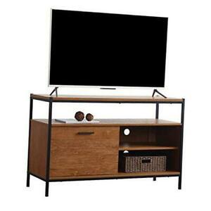 "48"" Sliding Barn Door Tv Media Stand With Storage Shelves Inside Preferred Industrial Corner Tv Stands (View 10 of 15)"