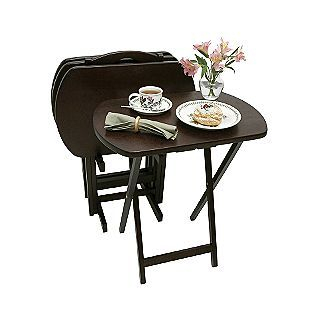 5 Piece Set Of 4 Espresso Oversized Tv Tray Tables With Pertaining To Most Recently Released Tv Stand Coffee Table Sets (View 7 of 15)