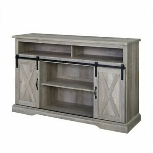 """52"""" Modern Farmhouse High Boy Wood Tv Stand With Sliding With Regard To Most Recently Released Modern Farmhouse Style 58"""" Tv Stands With Sliding Barn Door (View 4 of 15)"""