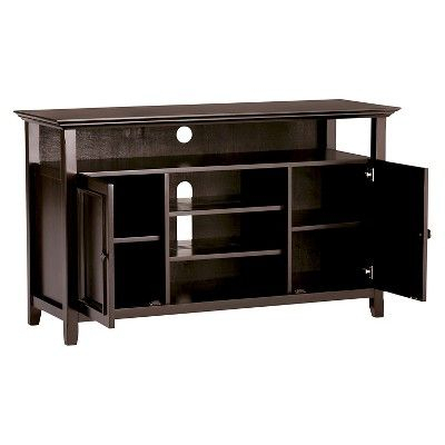 """54"""" Halifax Solid Wood Tv Stand Dark Brown – Wyndenhall Pertaining To Most Up To Date Dark Wood Tv Stands (View 15 of 15)"""
