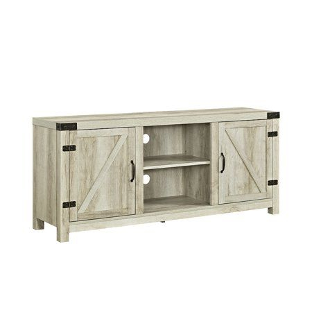 """58"""" Barn Door Tv Stand With Side Doors For Tvs Up To 65 Pertaining To Widely Used Woven Paths Farmhouse Barn Door Tv Stands In Multiple Finishes (View 6 of 14)"""