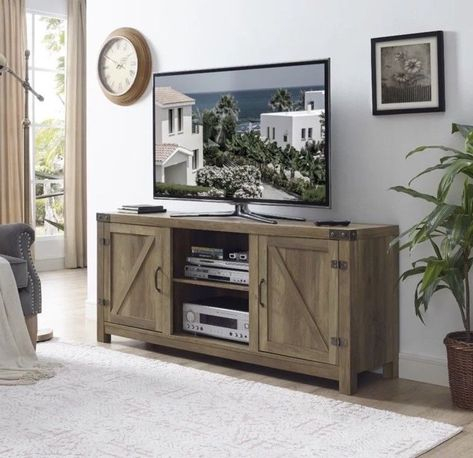 """58 Inch Tv Stand Rustic Farm Barn Style Media Center Within Fashionable Modern Farmhouse Style 58"""" Tv Stands With Sliding Barn Door (View 5 of 15)"""