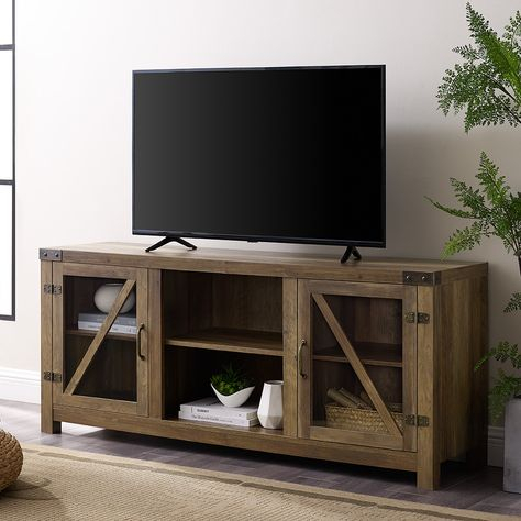 """58"""" Rustic Farmhouse Tv Stand – Rustic Oak – Walker Edison Within Most Current Rustic Corner Tv Stands (View 12 of 15)"""