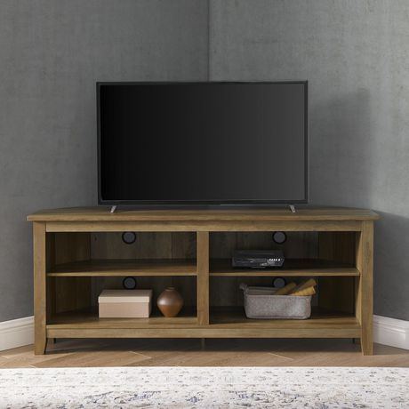 """58"""" Transitional Wood Corner Tv Stand – Reclaimed Barnwood With Trendy Techlink Bench Corner Tv Stands (View 4 of 15)"""