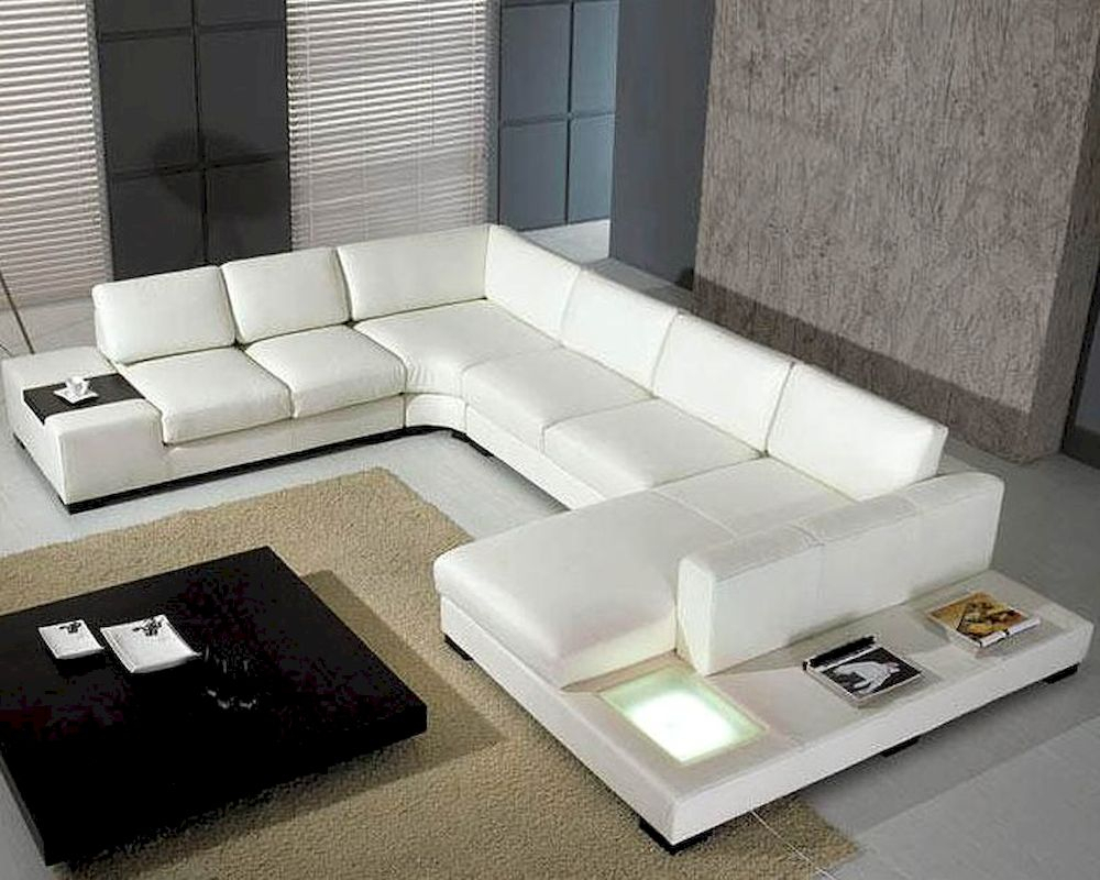 5Pc White Leather Sectional Sofa Set 44Lt35Whthl Pertaining To Sectional Sofas With Oversized Ottoman (View 9 of 15)