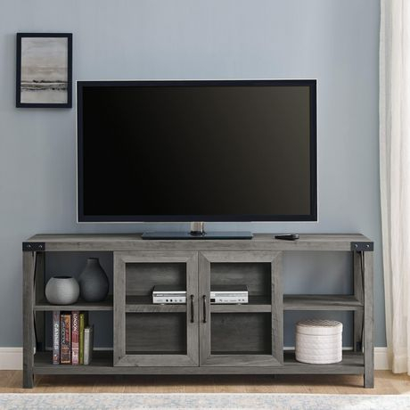 """60"""" Farmhouse Metal X Tv Stand – Grey Wash (View 2 of 15)"""