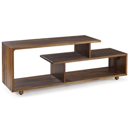 60 Inch Rustic Solid Wood Asymmetrical Tv Stand Console In With Well Known Rustic Tv Stands (View 15 of 15)