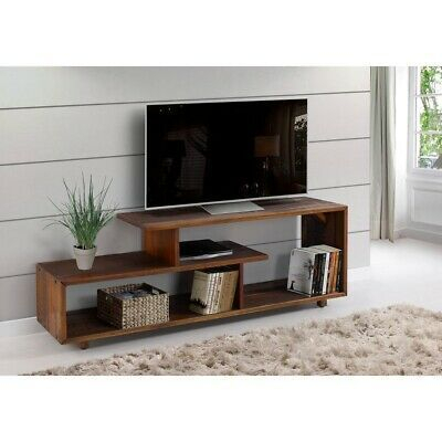 """& 60 Inch Rustic Solid Wood Asymmetrical Tv Stand Console With Regard To Popular Kasen Tv Stands For Tvs Up To 60"""" (View 8 of 15)"""