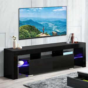 """63"""" High Gloss Tv Stand Unit Cabinet With Led Shelves 2 Regarding Popular 47"""" Tv Stands High Gloss Tv Cabinet With 2 Drawers (View 1 of 15)"""