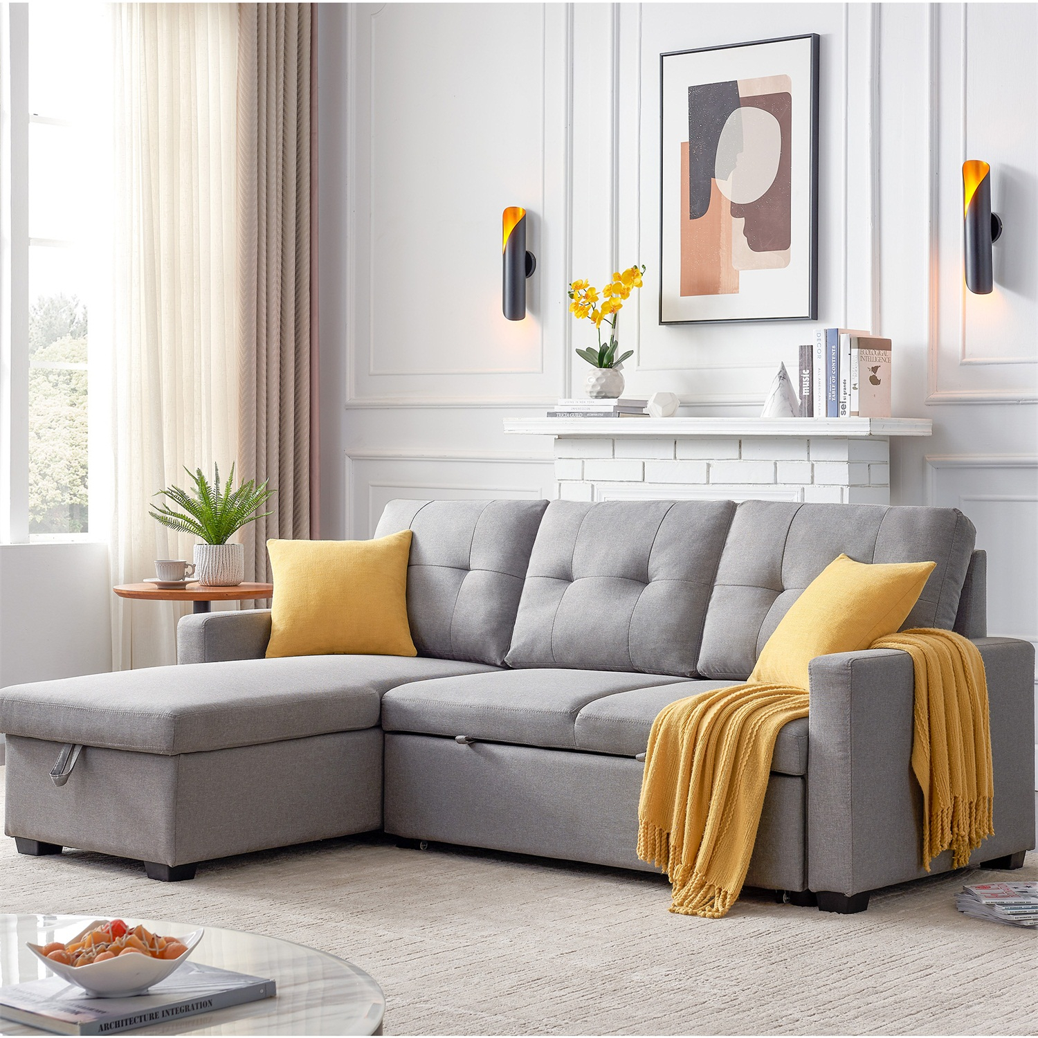 """82"""" Reversible Sofa Bed,Pull Out Sleeper Sectional Sofa Inside Sectional Sofas With Storage (View 6 of 15)"""