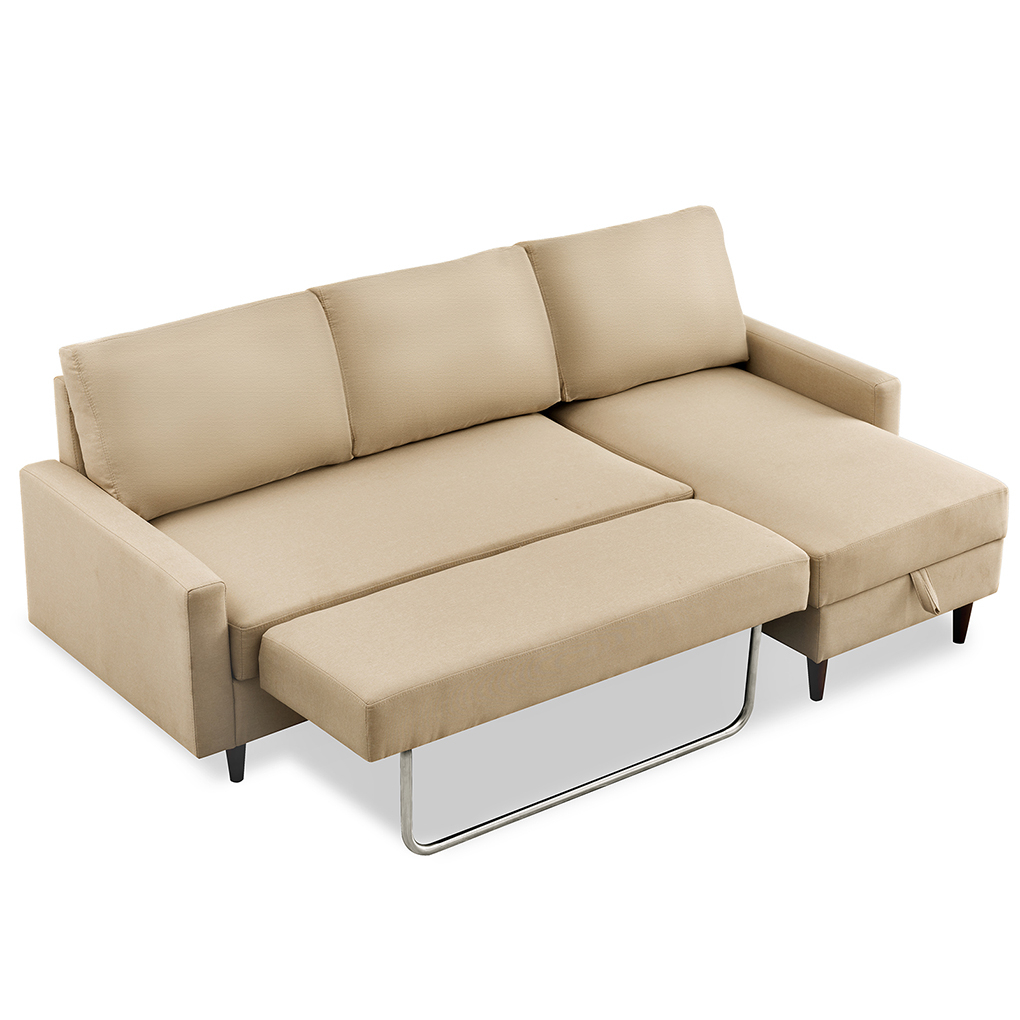 84 Inch Pull Out Sleeper Sectional Sofa Home Living Room Regarding Sectional Sofas With Storage (View 8 of 15)