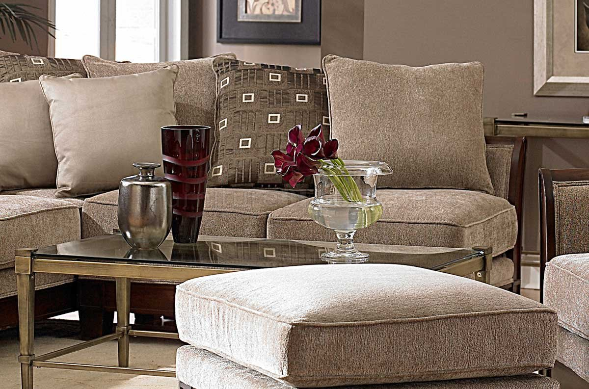 9927 Trenton Sectional Sofahomelegance – Tan Chenille Throughout Sectional Sofas With Oversized Ottoman (View 3 of 15)
