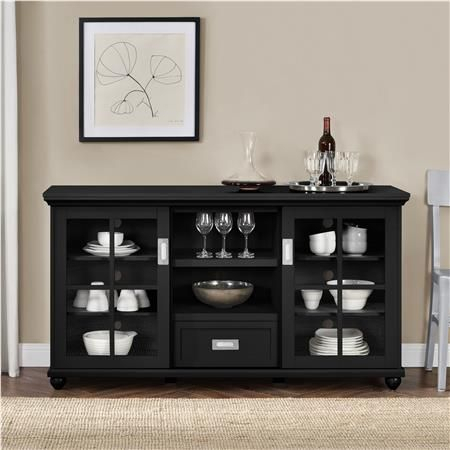 Aaron Lane Tv Stand/ Buffet, Black Within Preferred Modern Black Tv Stands On Wheels (View 11 of 15)