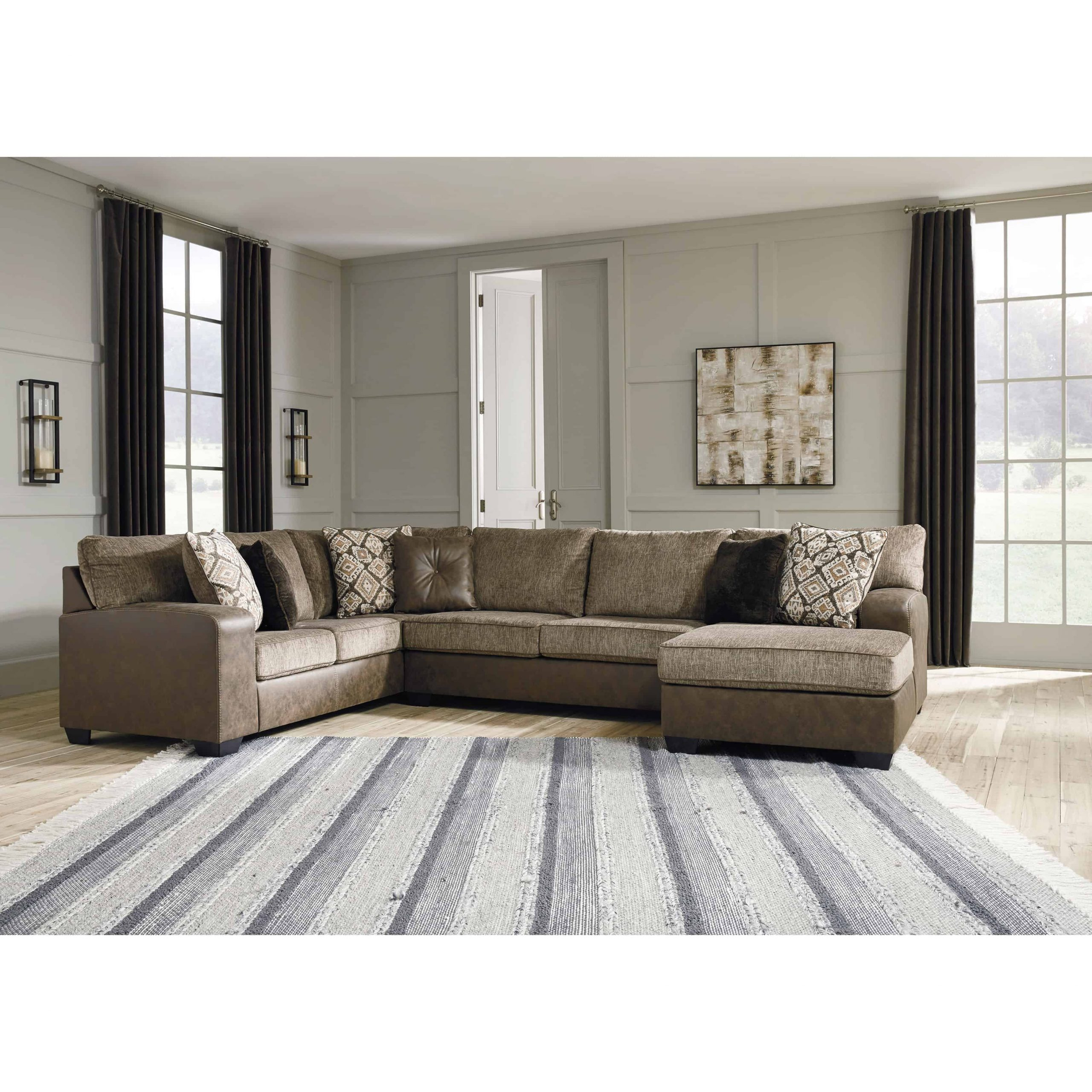Abalone 3 Piece Raf Chaise Sectional | Furnishmyhome (View 6 of 15)