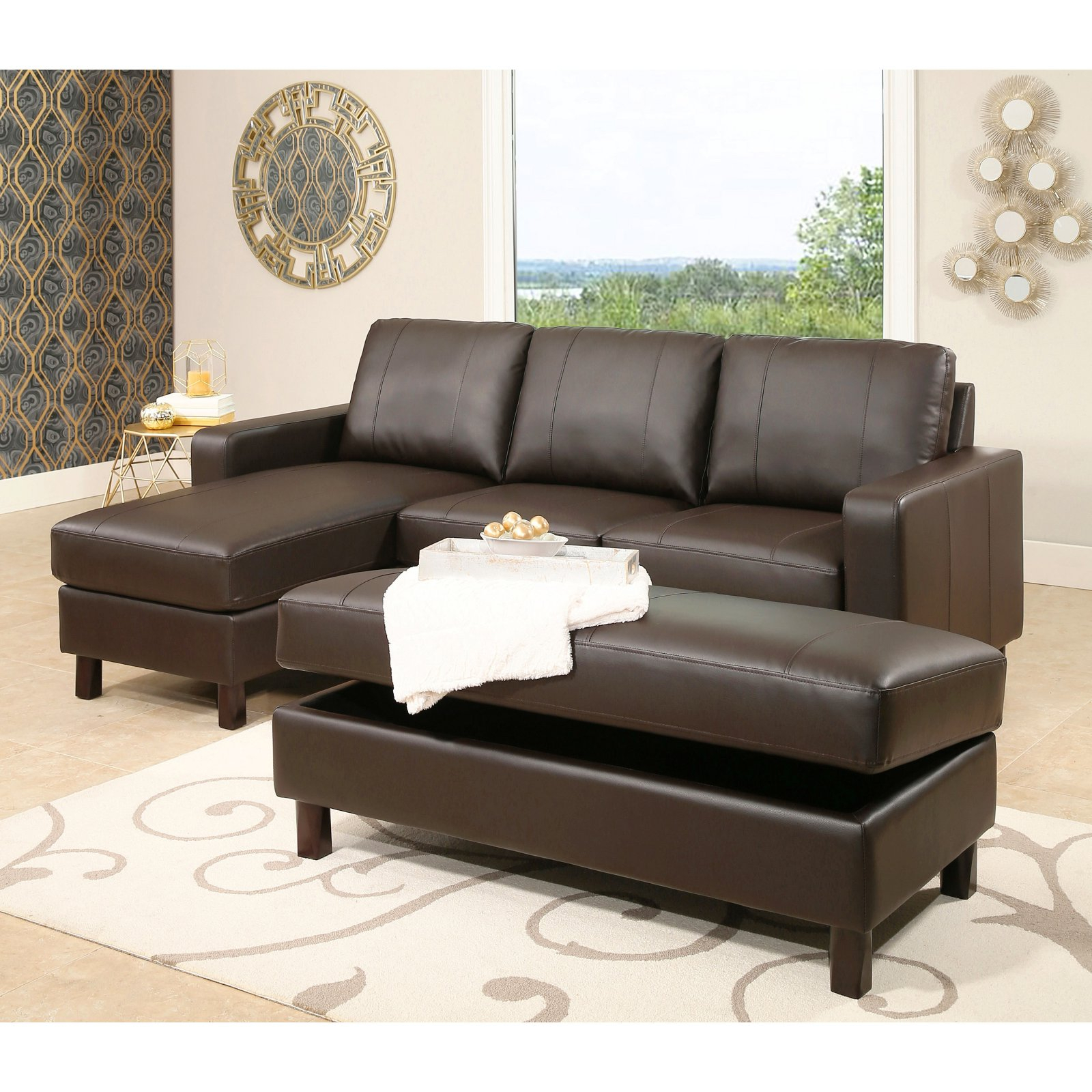 Abbyson Cedar Leather Reversible Sectional Sofa With Regarding Copenhagen Reversible Small Space Sectional Sofas With Storage (View 10 of 15)
