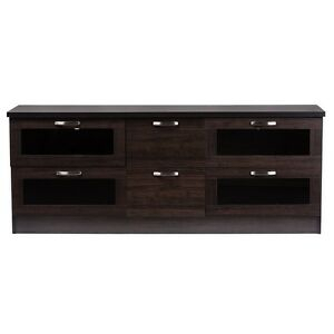 Adelino 63 Inches Dark Brown Wood Tv Cabinet With 4 Glass With Popular Tv Cabinets With Glass Doors (View 2 of 15)