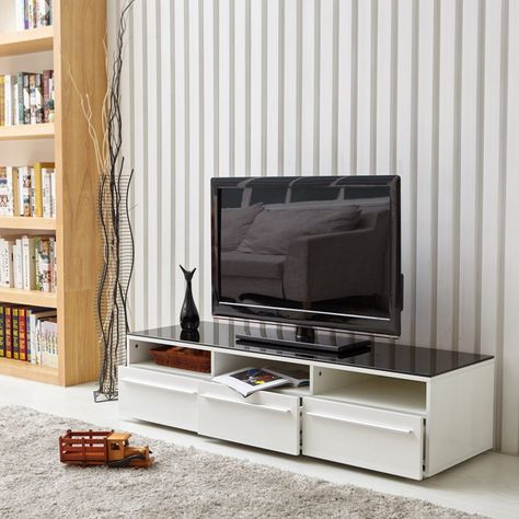 Aingoo Modern Tv Stand White And Black Coffee Table Glass For Favorite Black Tv Cabinets With Drawers (View 1 of 15)