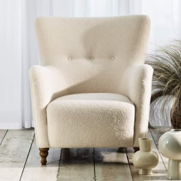 Alexander & James Perry Ivory Teddy Bear Fabric Armchair Within Fashionable Compton Ivory Corner Tv Stands With Baskets (View 13 of 15)