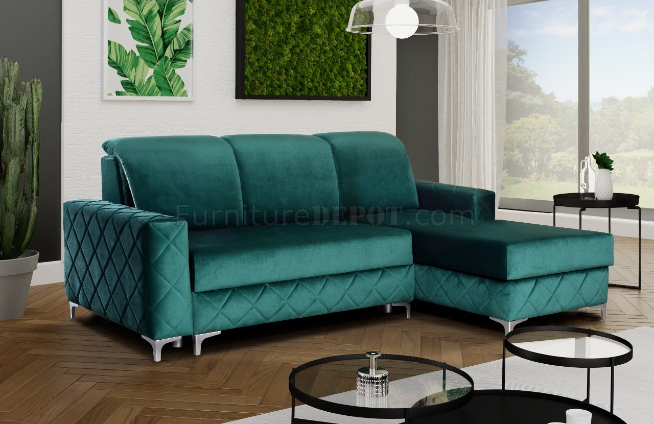 Alfredo Mini Sectional Sofa In Greenskyler Design With Regard To Green Sectional Sofas (View 2 of 15)