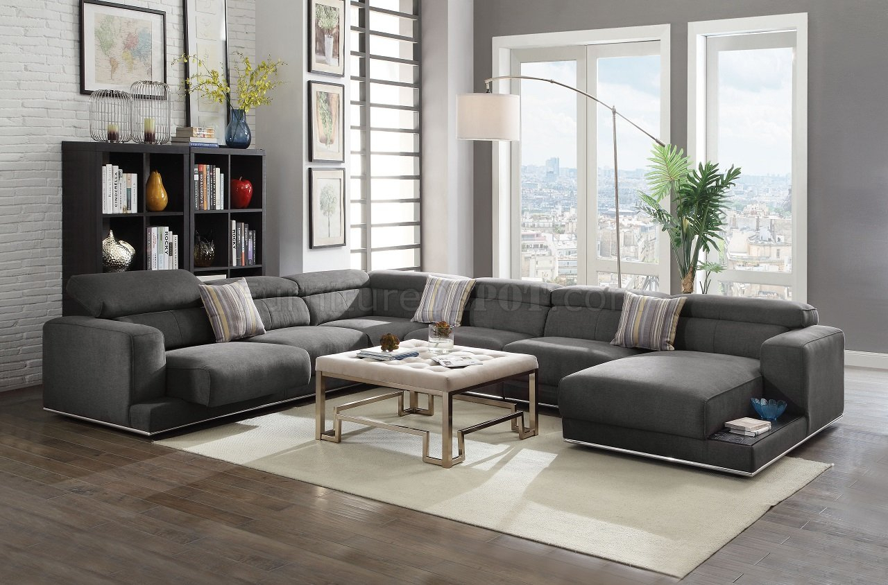 Alwin Sectional Sofa 53720 In Dark Gray Fabricacme W Pertaining To Sectional Sofas With Oversized Ottoman (View 1 of 15)